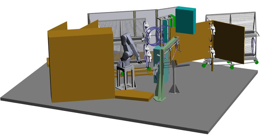 Simulazione 3D per impianto handling cerchietti gomme