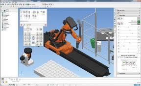 Simulazione impianto robot su slitta e manipolazione materiale