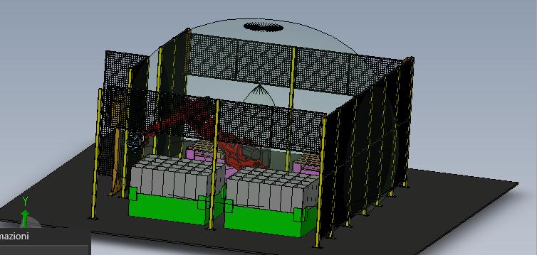Simulazione impianto manipolazione stampi automotive